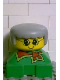Minifig No: 2327pb11  Name: Duplo 2 x 2 x 2 Figure Brick, Grandmother, Green Base, Gray Hair, Yellow Face