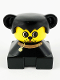 Minifig No: 2327pb12  Name: Duplo 2 x 2 x 2 Figure Brick, Dog, Black Base with Collar, Black Hair with Ears, Yellow Dog face