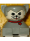 Minifig No: 2327pb15  Name: Duplo 2 x 2 x 2 Figure Brick, Cat, Light gray base with red collar, light gray hair, white face