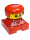 Minifig No: 2327pb16  Name: Duplo 2 x 2 x 2 Figure Brick, Red Base with Red Stripe Overalls, Red Hair, Large Eyes