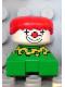 Minifig No: 2327pb24  Name: Duplo 2 x 2 x 2 Figure Brick, Clown, Green Base, Yellow Collar with Green Dots, White Head, Red Hair