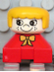 Minifig No: 2327pb26  Name: Duplo 2 x 2 x 2 Figure Brick, Red Base with Yellow Bow, White Head with Eyelashes and Freckles, Yellow Hair