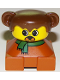 Minifig No: 2327pb30  Name: Duplo 2 x 2 x 2 Figure Brick, Dog, Dark Orange Base with Green Scarf, Brown Hair with Ears, Yellow Dog Face