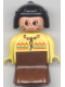 Minifig No: 31181pb03  Name: Duplo Figure, Female Lady, Brown Dress, Yellow Top, Black Hair (American Indian)