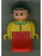 Minifig No: 31181pb04  Name: Duplo Figure, Female Lady, Red Dress, Yellow Top and Green Collar