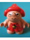 Minifig No: 31231pb02  Name: Duplo Figure Little Forest Friends, Female, Red Dress with Yellow Berry (Melba Strawberry)