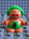 Minifig No: 31232pb04  Name: Duplo Figure Little Forest Friends, Male, Green Outfit with Acorn (Grumpy Toadstool)
