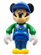 Minifig No: 33254  Name: Mickey Mouse Figure with Blue Overalls, Green Sleeves, Blue Cap