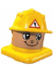 Minifig No: 45219c04  Name: Primo Figure Head Construction Worker with Helmet