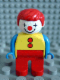 Minifig No: 4555pb002  Name: Duplo Figure, Male Clown, Red Legs, Yellow Top with 2 Buttons, Blue Arms, Red Hair Straight
