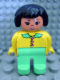 Minifig No: 4555pb003  Name: Duplo Figure, Female, Light Green Legs, Yellow Blouse, Black Hair, Asian Eyes