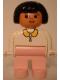 Minifig No: 4555pb004  Name: Duplo Figure, Female, Pink Legs, White Blouse, Black Hair