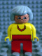 Minifig No: 4555pb013  Name: Duplo Figure, Female, Red Legs, Yellow Top with Red Necklace, Gray Hair, Glasses
