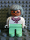 Minifig No: 4555pb014  Name: Duplo Figure, Female, Light Green Legs, White Blouse, Gray Hair, Glasses