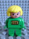 Minifig No: 4555pb023  Name: Duplo Figure, Female Zoo, Green Legs, Green Uniform, Yellow Hair (Zoo Keeper)