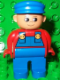 Minifig No: 4555pb027  Name: Duplo Figure, Male, Blue Legs, Red Top with Blue Overalls, Blue Cap, Turned Up Nose