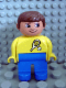 Minifig No: 4555pb032  Name: Duplo Figure, Male, Blue Legs, Yellow Top with Tennis Racket and Ball Pattern, Brown Hair