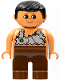 Minifig No: 4555pb035  Name: Duplo Figure, Male, Brown Legs, Nougat Top (Caveman)