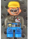 Minifig No: 4555pb037  Name: Duplo Figure, Male Action Wheeler, Blue Legs, Dark Gray Top with ID Badge with Belt, Yellow Cap, Sunglasses