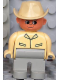 Minifig No: 4555pb039  Name: Duplo Figure, Male, Light Gray Legs, Tan Top, Cowboy Hat