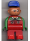 Minifig No: 4555pb040  Name: Duplo Figure, Male, Red Legs, Red Top with Octan Logo, Crooked Blue Hat