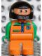 Minifig No: 4555pb041  Name: Duplo Figure, Male, Orange Legs, Orange Top with Racer Zipper, Green Arms, Black Helmet