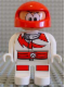 Minifig No: 4555pb042  Name: Duplo Figure, Male Action Wheeler, White Legs, White Top with Racer Red Lightning Bolt and Lines, Red Helmet with Large Eyes