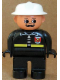 Minifig No: 4555pb043  Name: Duplo Figure, Male Fireman, Black Legs, Black Top with Fire Logo and Zipper, White Fire Helmet, Moustache