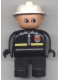 Minifig No: 4555pb045  Name: Duplo Figure, Male Fireman, Black Legs, Black Top with Fire Logo and Zipper, White Fire Helmet