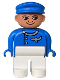 Minifig No: 4555pb046  Name: Duplo Figure, Male, White Legs, Blue Top (Airplane Jetliner Pilot)