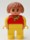Minifig No: 4555pb047  Name: Duplo Figure, Female, Yellow Legs, Red Top with Yellow and Red Polka Dot Scarf, Yellow Arms, Fabuland Brown Hair, without Nose