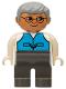 Minifig No: 4555pb049  Name: Duplo Figure, Male, Dark Gray Legs, Medium Blue Vest, Gray Hair, Glasses