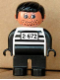 Minifig No: 4555pb053  Name: Duplo Figure, Male, Black Legs, White Top with 2-672 Number on Chest, Black Hair, Black Hands, Stubble (Jailbreak Joe)