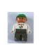 Minifig No: 4555pb056  Name: Duplo Figure, Male, Dark Gray Legs, White Top with Octan Logo, Green Helmet