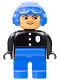 Minifig No: 4555pb062  Name: Duplo Figure, Male Police, Blue Legs, Black Top with 3 Buttons and Badge, Blue Aviator Helmet and Nose Bow Line Up