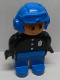 Minifig No: 4555pb062a  Name: Duplo Figure, Male Police, Blue Legs, Black Top with 3 Buttons and Badge, Blue Aviator Helmet and Nose Bow Line Down