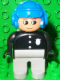 Minifig No: 4555pb063  Name: Duplo Figure, Male Police, Light Gray Legs, Black Top with 3 Buttons and Badge, Blue Aviator Helmet