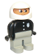 Minifig No: 4555pb064  Name: Duplo Figure, Male Police, Light Gray Legs, Black Top with 3 Buttons and Badge, White Racing Helmet
