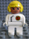 Minifig No: 4555pb066  Name: Duplo Figure, Male, White Legs, White Top with Black Zipper and Racer #1, Yellow Aviator Helmet
