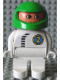 Minifig No: 4555pb068  Name: Duplo Figure, Male, White Legs, White Top with Black Zipper and Racer #2, Green Helmet
