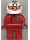 Minifig No: 4555pb070  Name: Duplo Figure, Male, Red Legs, Red Top with Black Zipper and Racer #2, White Helmet with Checkered Stripe