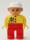 Minifig No: 4555pb077  Name: Duplo Figure, Female, Red Legs, Yellow Top with Red Buttons & Wrench in Pocket, Construction Hat White