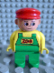 Minifig No: 4555pb078  Name: Duplo Figure, Male, Green Legs, Yellow Top with Green Overalls, Red Cap (Zoo Keeper)