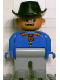 Minifig No: 4555pb088  Name: Duplo Figure, Male, Light Gray Legs, Blue Top with Red Bandana, Black Cowboy Hat