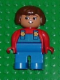 Minifig No: 4555pb093  Name: Duplo Figure, Female, Blue Legs, Red Top with Blue Overalls, Brown Hair, Turned Down Nose
