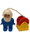 Minifig No: 4555pb094  Name: Duplo Figure, Male, Blue Legs, Blue Top, White Helmet, Hose and Red Reel