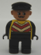 Minifig No: 4555pb095  Name: Duplo Figure, Male, Black Legs, Yellow Chevron Vest, Black Arms, Black Cap