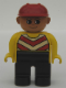 Minifig No: 4555pb096  Name: Duplo Figure, Male, Black Legs, Chevron Vest, Yellow Arms, Construction Hat Red