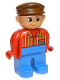 Minifig No: 4555pb100  Name: Duplo Figure, Male, Blue Legs, Red Top Plaid, Brown Cap