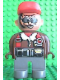 Minifig No: 4555pb101  Name: Duplo Figure, Male Action Wheeler, Dark Gray Legs, Shearling Collar and Tool Belt, Construction Hat Red
